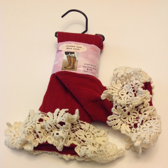 916c55c13e860 BOOT SOCKS CROCHET LACE ABOUT KNEE LENGTH RED NWT